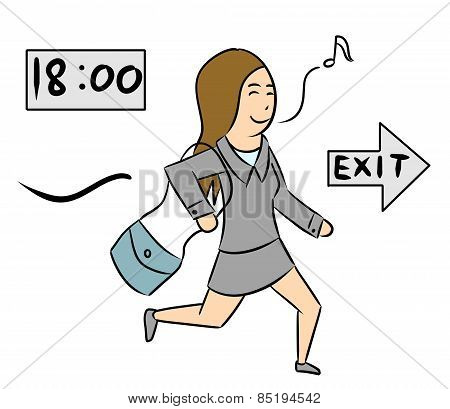 cartoon woman isolate exit time