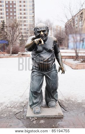 Moscow, Russia, March, 03, 2015: Monument Yevgeny Leonov in the role of associate professor at the Mosfilmovskaya street, Moscow