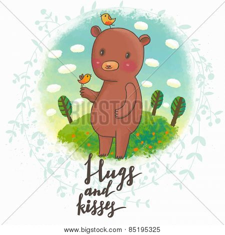 Hugs and kisses - sweet bear with lovely birds on meadow in vector. Awesome childish illustration. Summer card in bright colors