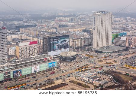 WARSAW, POLAND - 28 FEBRUARY 2014: Aerial view of the city center in Warsaw , Poland. Warsaw is the capital and largest city of Poland with population estimated at 1,8 million residents.
