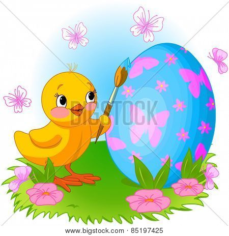 Illustration of an Easter Chicken is painting an egg
