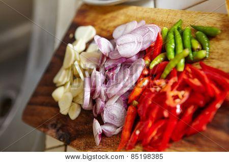 Preparing ingredient to cook stir fry spicy tuna in the kitchen