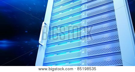 Server tower against stars twinkling in night sky