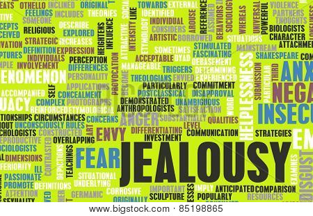 Jealousy as a Negative Emotion Concept Art