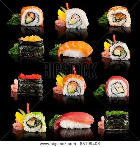 Delicious sushi, maki, nigiri pieces isolated on black background