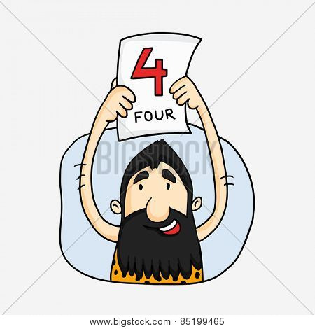 Cartoon of a caveman cheering four run in Cricket on white background.