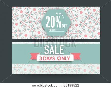 Beautiful floral design decorated Sale website header or banner set with discount offer for limited time.