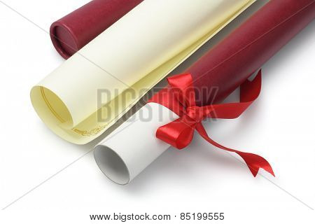 Graduation Certificate and Open Scroll Container On White Background