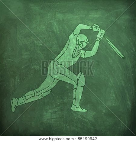 Young batsman ready to hit the shot on green chalkboard background for Cricket sports concept.