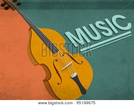 Vintage grungy background with text Music and stylish guitar.