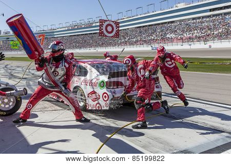 Las Vegas, NV - Mar 08, 2015:  Kyle Larson (42) brings his race car in for service during the Kobalt 400 race at the Las Vegas Motor Speedway in Las Vegas, NV.