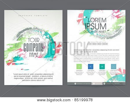 Colorful two pages business brochure, template or flyer design with place holders for corporate sector.