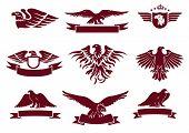 stock photo of eagles  - Eagles Silhouettes Set - JPG