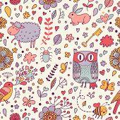 stock photo of bee cartoon  - Stunning seamless pattern with animals - JPG