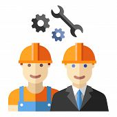 pic of engineering construction  - construction worker and engineer avatar flat sign set - JPG