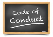 picture of conduction  - detailed illustration of a blackboard with Code of Conduct text - JPG