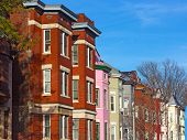 stock photo of row houses  - Residential row houses in US Capital before sunset - JPG