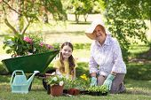 stock photo of granddaughters  - Happy grandmother with her granddaughter gardening on a sunny day - JPG