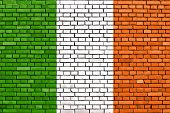 picture of ireland  - flag of Ireland painted on brick wall - JPG