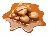 pic of toffee  - Caramel toffee and sauce isolated on a white background - JPG
