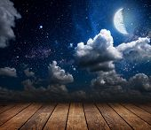 stock photo of moon silhouette  - backgrounds night sky with stars and moon and clouds - JPG