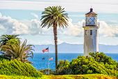 stock photo of southern  - Point Vicente Lighthouse overlooking Catalina Island in southern California - JPG
