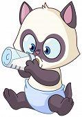 foto of siamese  - Baby Siamese kitten drinking milk from bottle - JPG