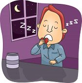 stock photo of unawares  - Illustration of a Sleepwalking Man Eating an Apple While Asleep - JPG