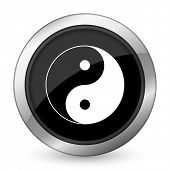 stock photo of ying-yang  - ying yang black icon   - JPG