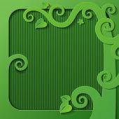 image of cutting trees  - Green frame with a cut paper tree decorative shapes - JPG