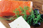 picture of redfish  - smoked salmon chunk with olives and white cheese - JPG