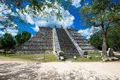 stock photo of mayan  - Mayan pyramid in Chichen Itza  - JPG