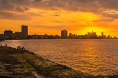 image of malecon  - Romantic sunset in Havana with a view of the city skyline - JPG