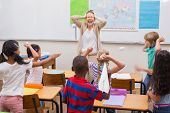 pic of misbehaving  - Naughty pupils in class at the elementary school - JPG
