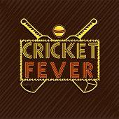 stock photo of cricket ball  - Stylish text Cricket Fever with bats and ball on brown background - JPG
