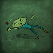 picture of cricket ball  - Cartoon of a boy trying to catch the ball on green chalkboard background for Cricket sports concept - JPG