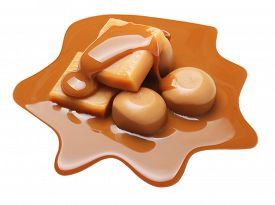 image of toffee  - Caramel toffee and sauce isolated on a white background - JPG