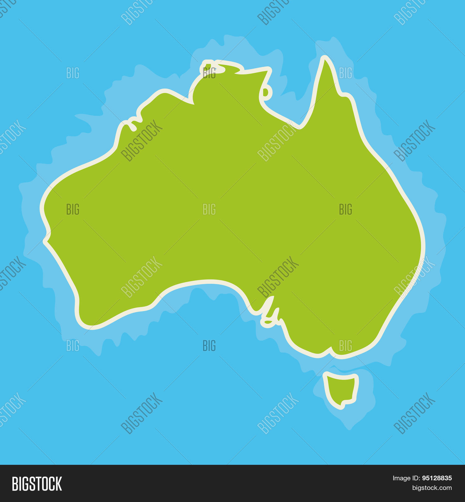 Map Of Australia Continent And Blue Indian Ocean Vector – Australia Ocean Map
