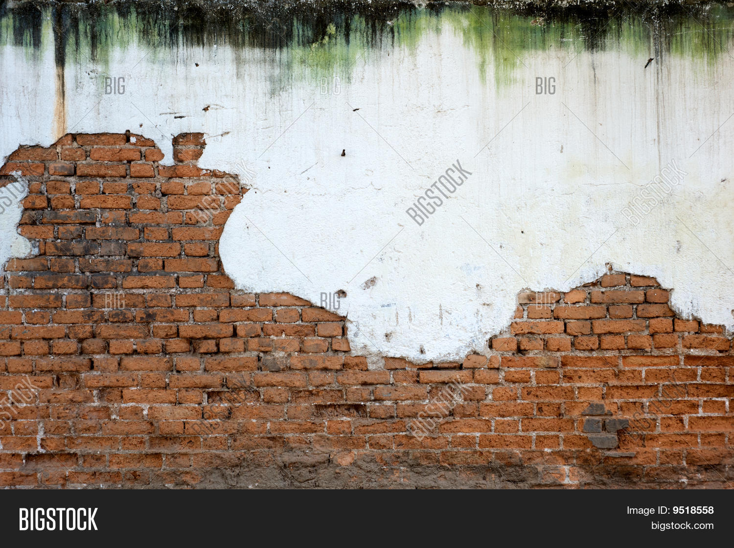 Stained white plaster exposed brick image photo bigstock for White exposed brick wall