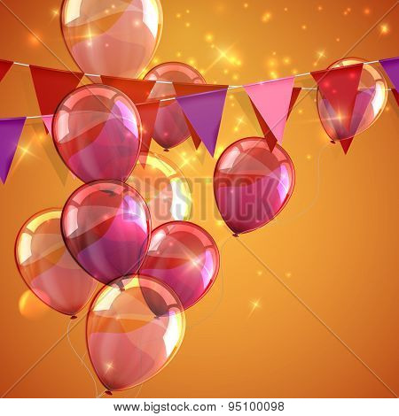 illustration of bunting flags, flying balloons and sparkles