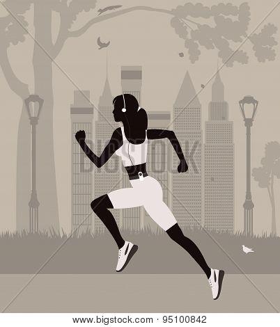 Running Woman In New York.