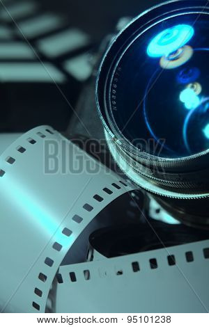 Close-up Photo Movie Camera Lens