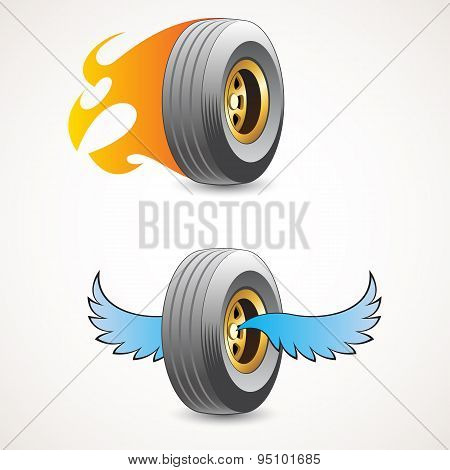 Wheel With Flames And Wheel With Wings