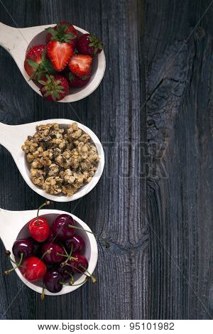 Tasty Breakfast. Strawberries, Cherries And Cereal