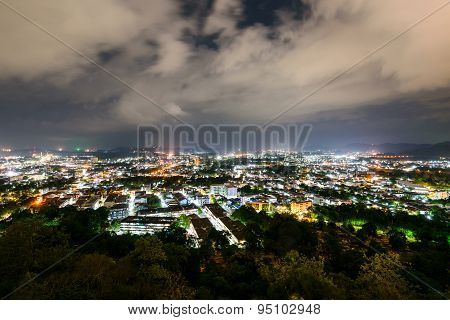 High Angle View Phuket Province At Night