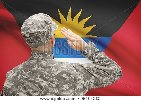 Soldier In Hat Facing National Flag Series - Antigua And Barbuda