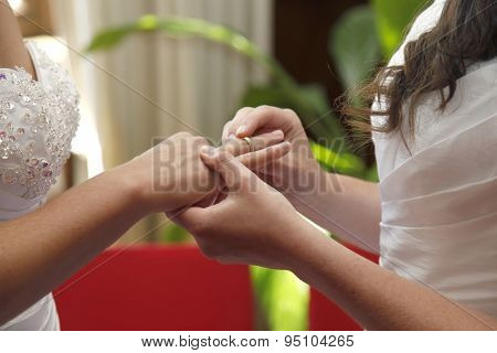Two Brides Getting Married Exchange Rings