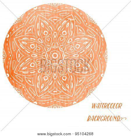 Vector circular ornament orange, mandala .Ornamental round floral pattern.
