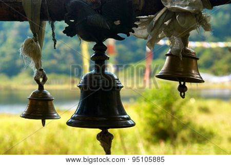 Old Bronze Bells In Indian Temple