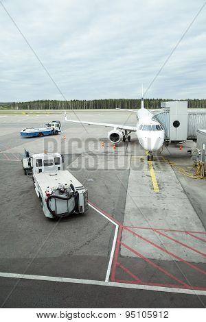 Airplane Waiting For Passengers On International Airport Helsinki Vantaa